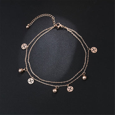 18k Rose Gold-Plated Coin & Bell Layer Station Anklet