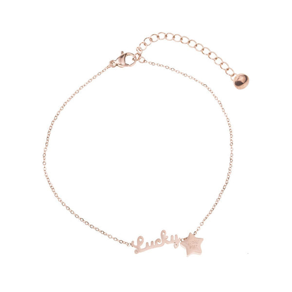 18k Rose Gold-Plated 'Lucky' Anklet - streetregion