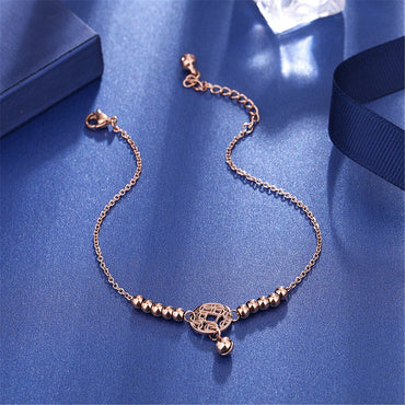 18k Rose Gold-Plated Coin Charm Bead Anklet