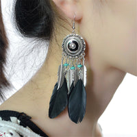 Black Feather & Silver-Plated Drop Earring - streetregion