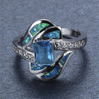 Blue Crystal & Opal Fine Silver-Plated Eternity Ring - streetregion