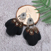 Black Feather & Silver-Plated Wide Drop Earring - streetregion
