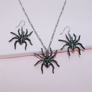Black & Silver-Plated Spider Pendant Necklace & Drop Earrings