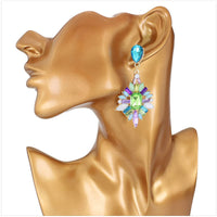 Blue cubic zirconia & 18k Gold-Plated Bezel-Set Cluster Drop Earrings - streetregion