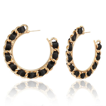 Black Velvet & Goldtone Figaro Hoop Earrings