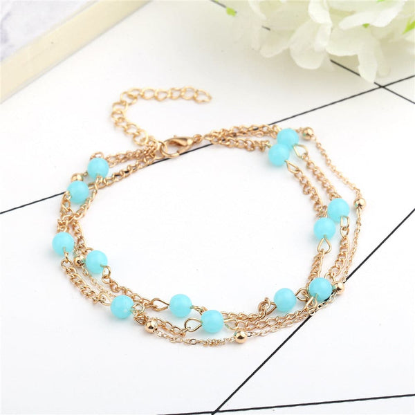 Aqua & 18k Gold-Plated Beaded Layered Station Anklet - streetregion