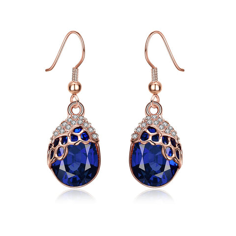 Blue Cubic Zirconia & Rose Goldtone Teardrop Earrings - streetregion