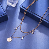 18k Rose Gold-Plated Moon & Star Double-Layer Pendant Necklace - streetregion
