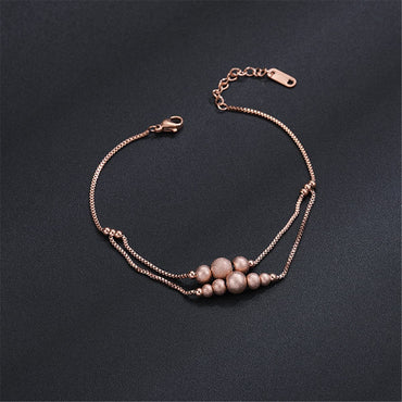 18k Rose Gold-Plated Frosted Bead Layer Anklet