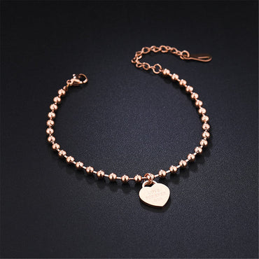 18k Rose Gold-Plated Heart Charm Anklet