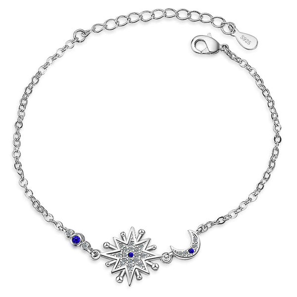 Blue Crystal & Silver-Plated Star & Moon Bracelet - streetregion