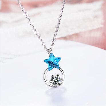 Blue Crystal & Cubic Zircon Star Ring Pendant Necklace - streetregion