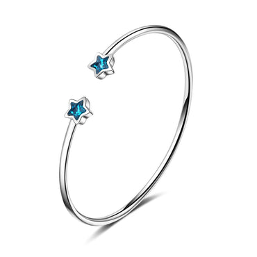 Blue Crystal & Silver-Plated Star Cuff - streetregion