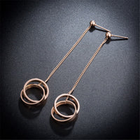 18k Rose Gold-Plated Crossing Roman Numeral Drop Earring - streetregion