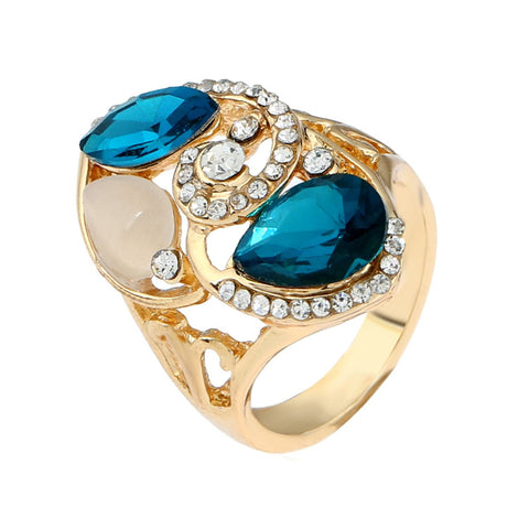 Blue Crystal & Opal Spiral Teardrop Ring - streetregion
