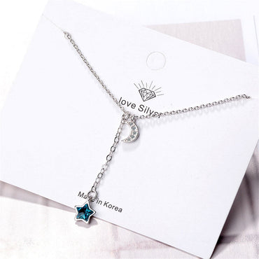 Blue Crystal & Cubic Zircon Moon Pendant Necklace - streetregion