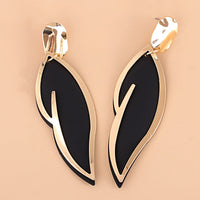 Black Oil Drip & Goldtone Leaf Drop Earrings
