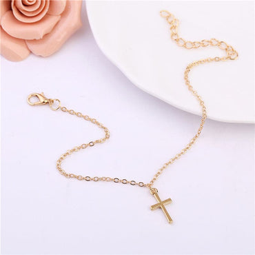 18k Gold-Plated Cross Charm Anklet - streetregion