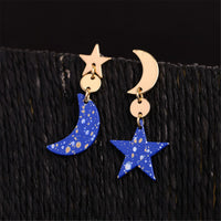 Blue & 18k Gold-Plated Moon Star Asymmetrical Drop Earrings