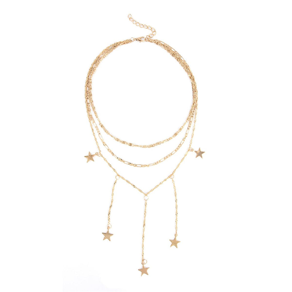 18k Gold-Plated Star Drop Layered Choker Necklace - streetregion
