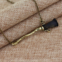 Black & Goldtone Broom Pendant Necklace - streetregion