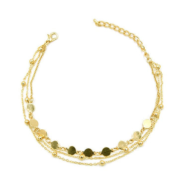18k Gold-Plated Beaded & Sequin Station Anklet - streetregion