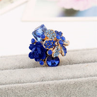 Blue Crystal & cubic zirconia Group Flower Ring - streetregion