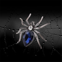 Blue Crystal & Black Spider Brooch - streetregion