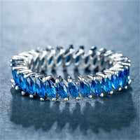 Blue Crystal & Silver-Plated Interlocking Marquise Band - streetregion