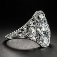 Blue Crystal & Fine Silver-Plated Eternity Ring - streetregion