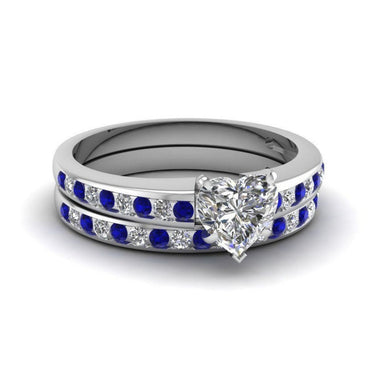 Blue Cubic Zirconia & Crystal Heart Cut Ring Set - streetregion