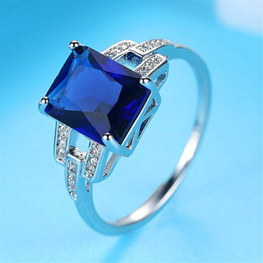 Blue Crystal & Cubic Zirconia Radiant-Cut Ring
