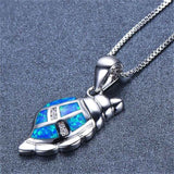 Blue Opal & Fine Silver-Plated Sea Snail Pendant Necklace - streetregion