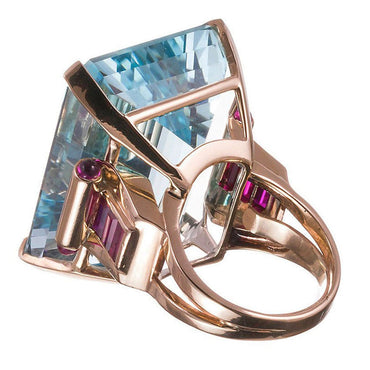 Blue Crystal & 18k Rose Gold-Plated Princess Ring - streetregion