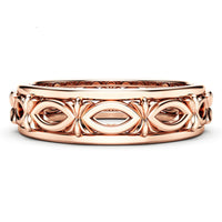 18k Rose Gold-Plated Marquise Cutout Hollow Botany Band - streetregion