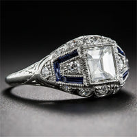 Dark Blue Crystal & cubic zirconia Milgrain Ring - streetregion