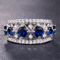 Blue Crystal & cubic zirconia Prong Band - streetregion