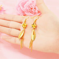 24K Gold-Plated Flower Tassel Drop Earrings