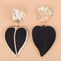 Black Oil Drip & Goldtone Heart Drop Earrings