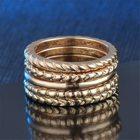 18k Rose Gold-Plated Etched Band Set