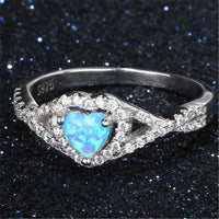 Blue Opal & Fine Silver-Plated Heart Hola Ring - streetregion