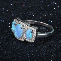 Blue Opal & Fine Silver-Plated Oval Hola Ring - streetregion