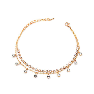18k Gold-Plated & White Cubic Zirconia Anklet - streetregion