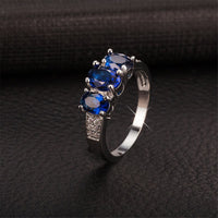 Blue cubic zirconia & Silver-Plated Ring - streetregion