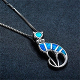 Blue Opal & Fine Silver-Plated Cat Pendant Necklace - streetregion