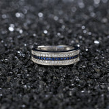 Blue cubic zirconia & Silver-Plated Stripe Band - streetregion