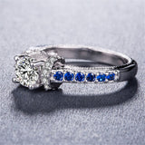 Blue & White cubic zirconia Cocktail Ring - streetregion