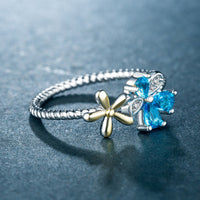 Blue Crystal & cubic zirconia Flower Ring - streetregion