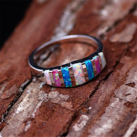 Blue & Purple Opal & Silver-Plated Bar Band - streetregion