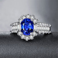 Blue Crystal & cubic zirconia Baguette-Cut Ring - streetregion